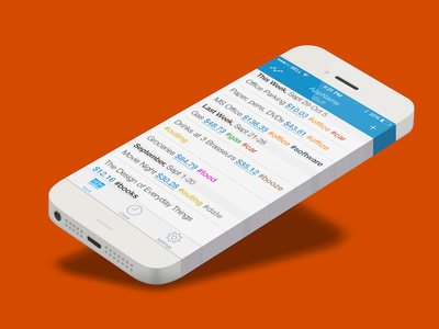 Text-based Expense Tracker Concept ios iphone ios7 flat expense money tracking time app mobile