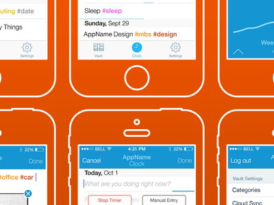 Text-based Time/Expense Tracker ios mobile iphone app expense flat ios7 money time tracking