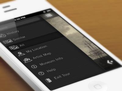 Toorist Sidenav ios mobile icons nav side nav slide dark