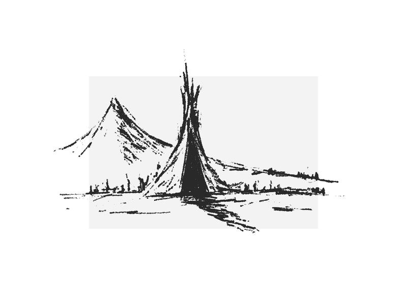 shaman-tent black  white illustration tent shaman