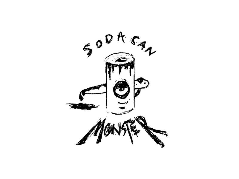 hiding in your soda can soda can soda monster sketch illustration black  white