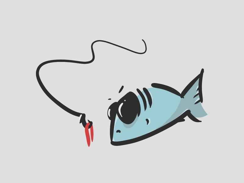 i'm not okay with this fishing fish illustration