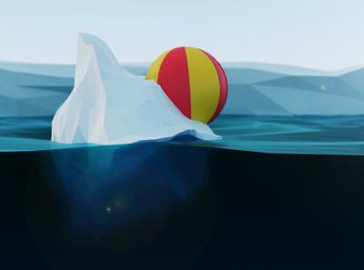 I Have No Idea How We Got Here lowpoly blender beach ball glacier iceberg