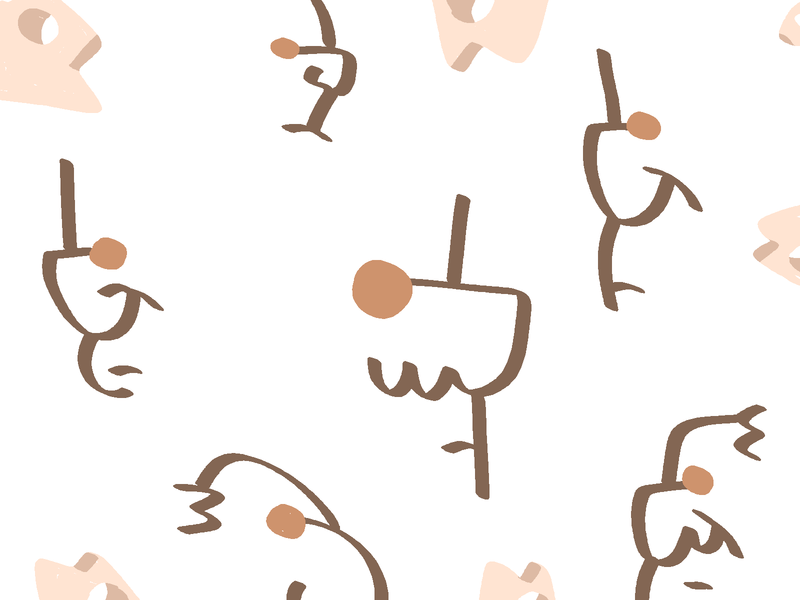 lines orange fish faces depressed sketch illustration