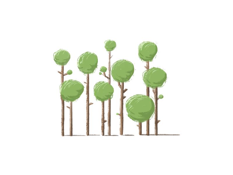trees brush green trees tree sketch illustration
