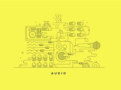 Audio Illustration vector banner design branding illustrations illustration art tech conference line art illlustrator lines bold colorful tech audio illustration
