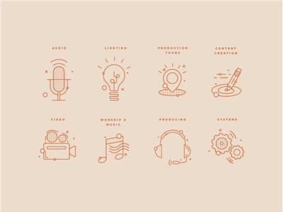 Tech Icon Set branding conference lighting systems film video music lineart outline illustration icon icons tech