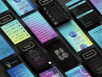Screens on Screens branding design screen glow neon lights neon branding conference tech phone app design app