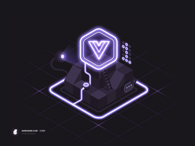 Powered by Vue.js (Isometric Illustration)