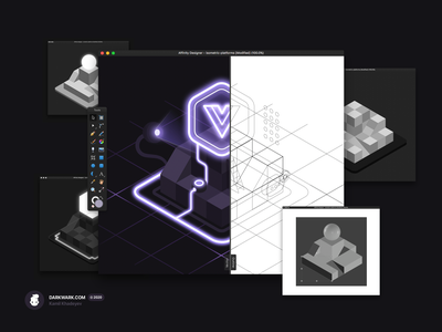 Powered by Vue.js (Isometric Illustration) vue.js madeinaffinity isometric vector illustration