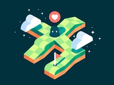 Isometric Platforms affinity game illustration isometric
