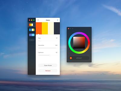 Palettes App (vue.js) vue ui interface desktop palettes colors vue.js electron app macos mac