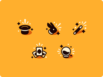 Magician Set magician magic glyphs icons