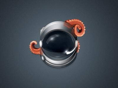 Space helmet icon tentacles alien space glass helmet illustration