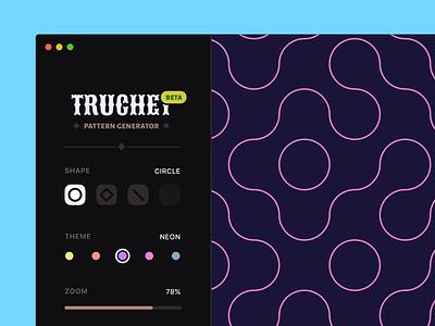 Truchet Pattern Generator (WebGL + Vue.js Experiment) electron threejs webgl ui app mac pattern vuejs interface