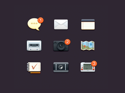 Icons icon messages mail notes music photo map todo video games