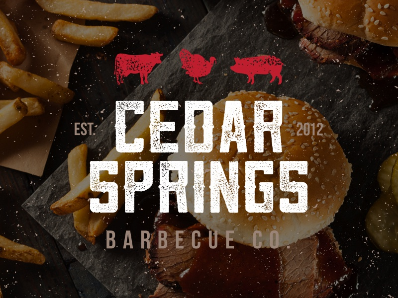 Cedar Springs Barbecue Co. - Identity Package sauce smoked chicken pig cow cedar meat bbq barbecue logo branding identity