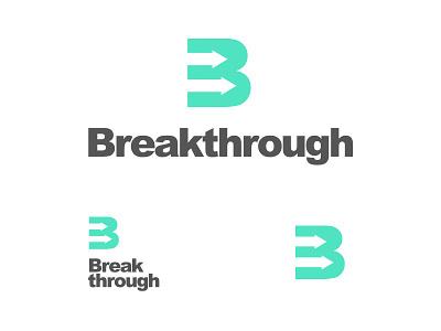 Breakthrough Logo symbol stacked capital b arrow helvetica arial teal breakthrough