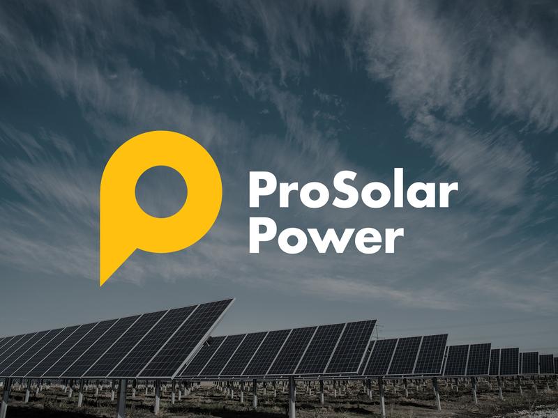 Pro Solar Power Logo sun circle pro power yellow solar p branding logo identity