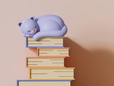 Sleepy Cat book animals cat illustration 3d