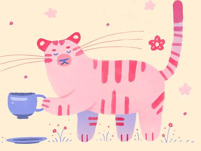Teatime tiger illustration digital art illustration art illustration digital