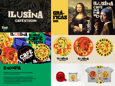 Il Usina Café Studio creative coffee calligraphy pasado 1920 history tipography dada retrowave logo shirt toolkit desing dadaism retro bar cafe bar branding