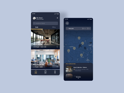 Coworking Space Booking App map minimal design work cowork workspace app ux