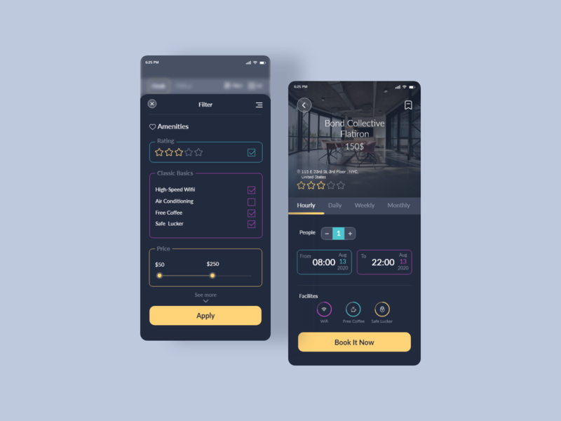 Coworking Space Booking App design uiux coworking workout workspace userinterface ux ui