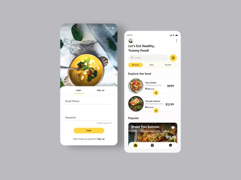 Food Delivery App dribbble app userinterface uiux minimal ux ui food app food