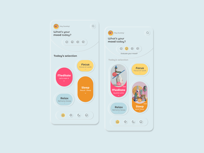 Neomorphism soft UI design  for Meditation App wealthy mindful deep breath relax meditation app dribbble userinterface uiux ux design ui