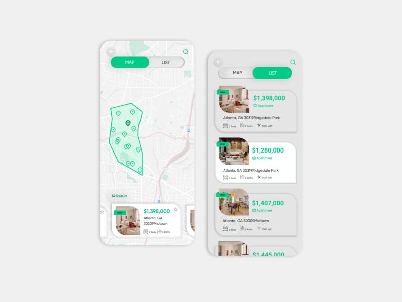 Real Estate Platform map minimal userinterface ux dribbble uiux app