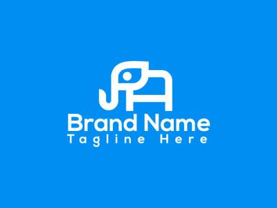 Elephant logo design flat minimal lettering branding vector design logo