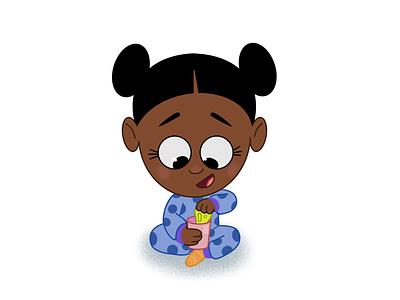 Slime Time picture book character design illustration art pajamas daughter procreate melanin black girl magic little girl slime kawaii cute lafespaceart