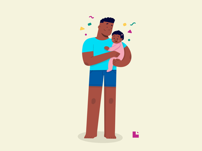 Father and daughter african american hand drawn procreate pixel art illustration father baby flat design character