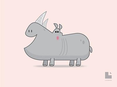 Rhinopottamus illustrator flat character design simple character vector illustration