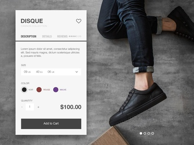 Day 002 - Product Card store shop shoes product minimal fashion e-commerce day002 clean cart app daily100
