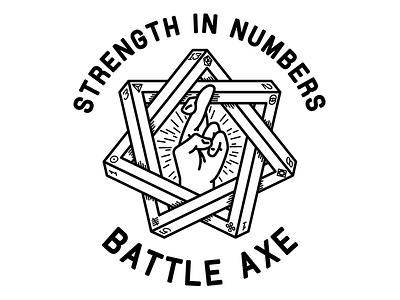 Strength in Numbers battle axe black and white shirt luck fingers crossed heptagram fibonacci illustration