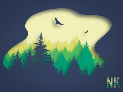 Papercut Forest procreate illustration graphic design