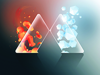 Fire and Ice logo fire ice comparing design