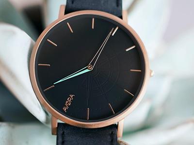 AVØRA cyan crafted detail watch compass branding picture design