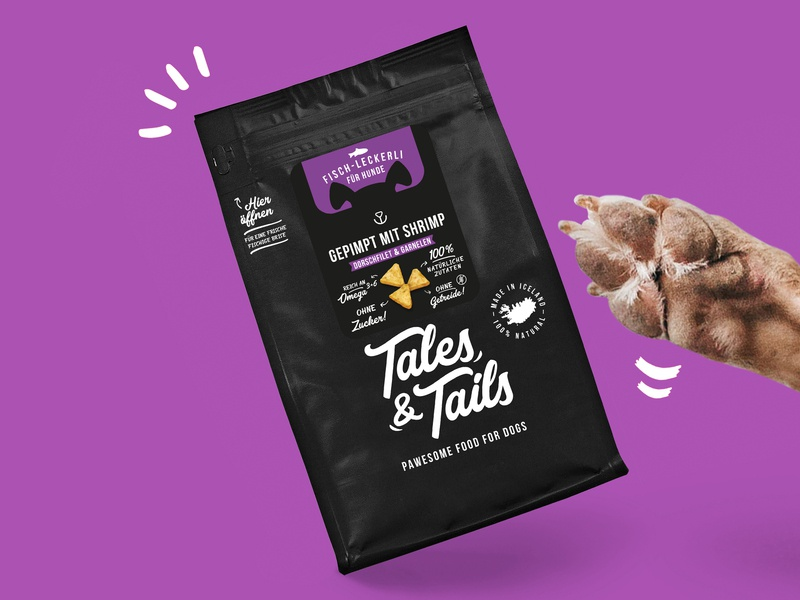 Tales&Tails Treats for Dogs package design treats dog identity illustrator typography illustration vector design branding logo package packagedesign