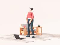 Lets Dance! mixamo tech mograph furniture quarantine female 3d animation motion design geometry illustration
