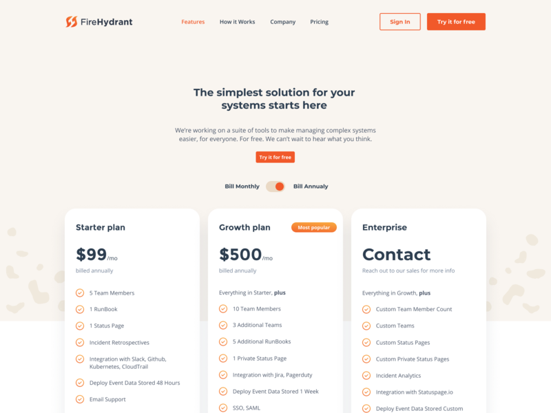 FireHydrant Pricing page website plan pricing web typography ux branding ui minimal mark logo
