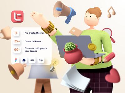Trinity 3d Kit creative kit figma cinema4d web app ui 3d design geometry illustration minimal