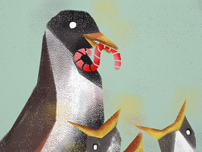 Back & forth with customers paint illustration parent worm feed bird texture kayako