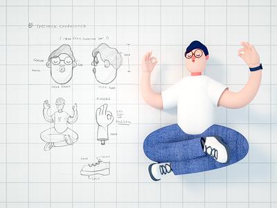 Tapcheck Character wip charachter design cinema4d octane sketch branding 3d design geometry illustration
