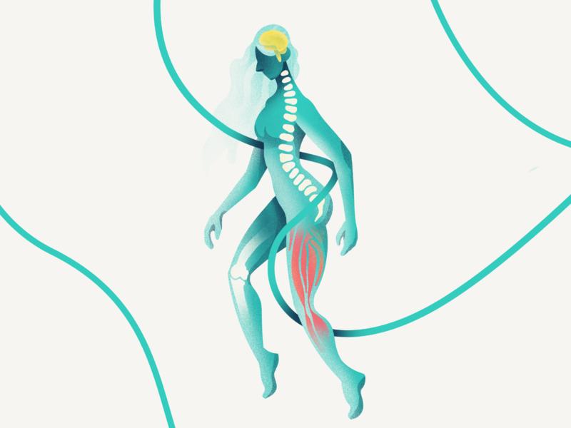 Hero Illustration for About us page spine brain muscle bone female human grain ribbon aeon ipad procreate design illustration