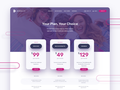 Accesselite Pricing page branding medical website plan table cost pricing ux ui