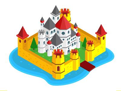 Isometric Design - Castle information information design graphic design vector graphics graphic design building architecture castle illustration isometric illustration isometric design isometric art isometry