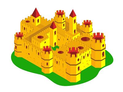 Isometric Design - Fort information information design architecture medieval fairytales fairytale fort building isometric illustration isometric design isometric art isometry vector illustration graphic graphics graphic design design